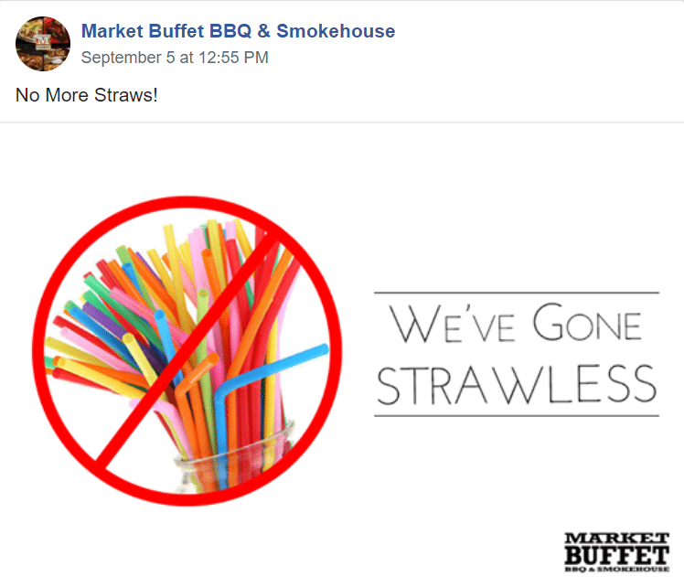 market buffet straws facebook post